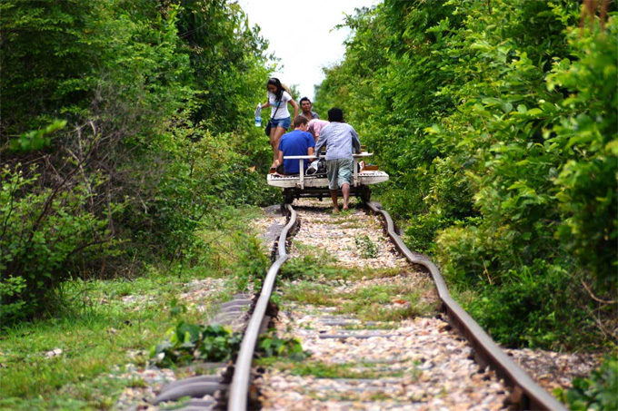 Bamboo Train in Battambang Cambodia