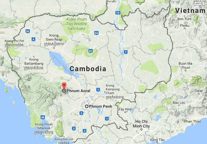 The map of Phnom Aural in Cambodia