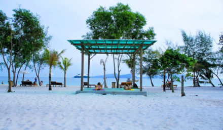 The beach in one of koh rong resorts