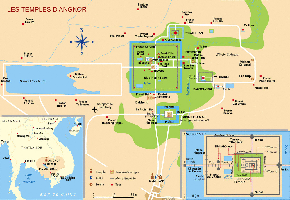 Maps of Angkor Temples in Siem Reap