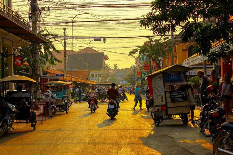 Traffic in Siem Reap Cambodia