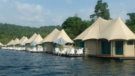 Sleep in a floating tent in Cambodia